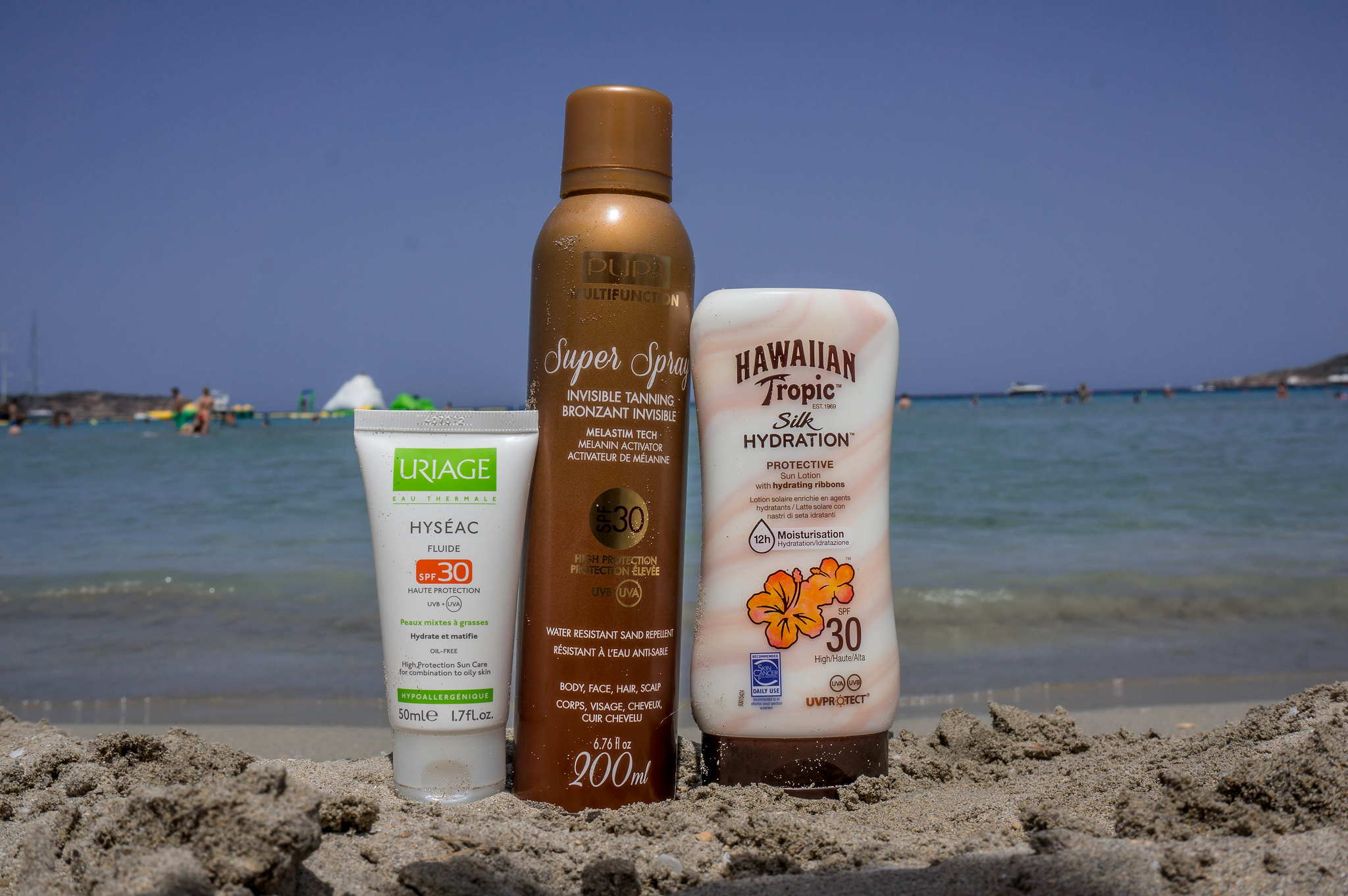 uriage-hyseac-fluide-spf30-pupa-super-spray-invisible-tanning-hawaiian-tropic-silk-hydration-spf30