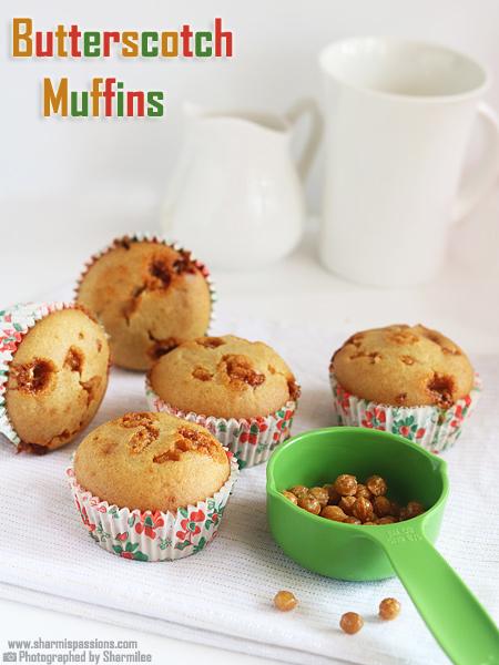 Eggless Butterscotch Muffins Recipe