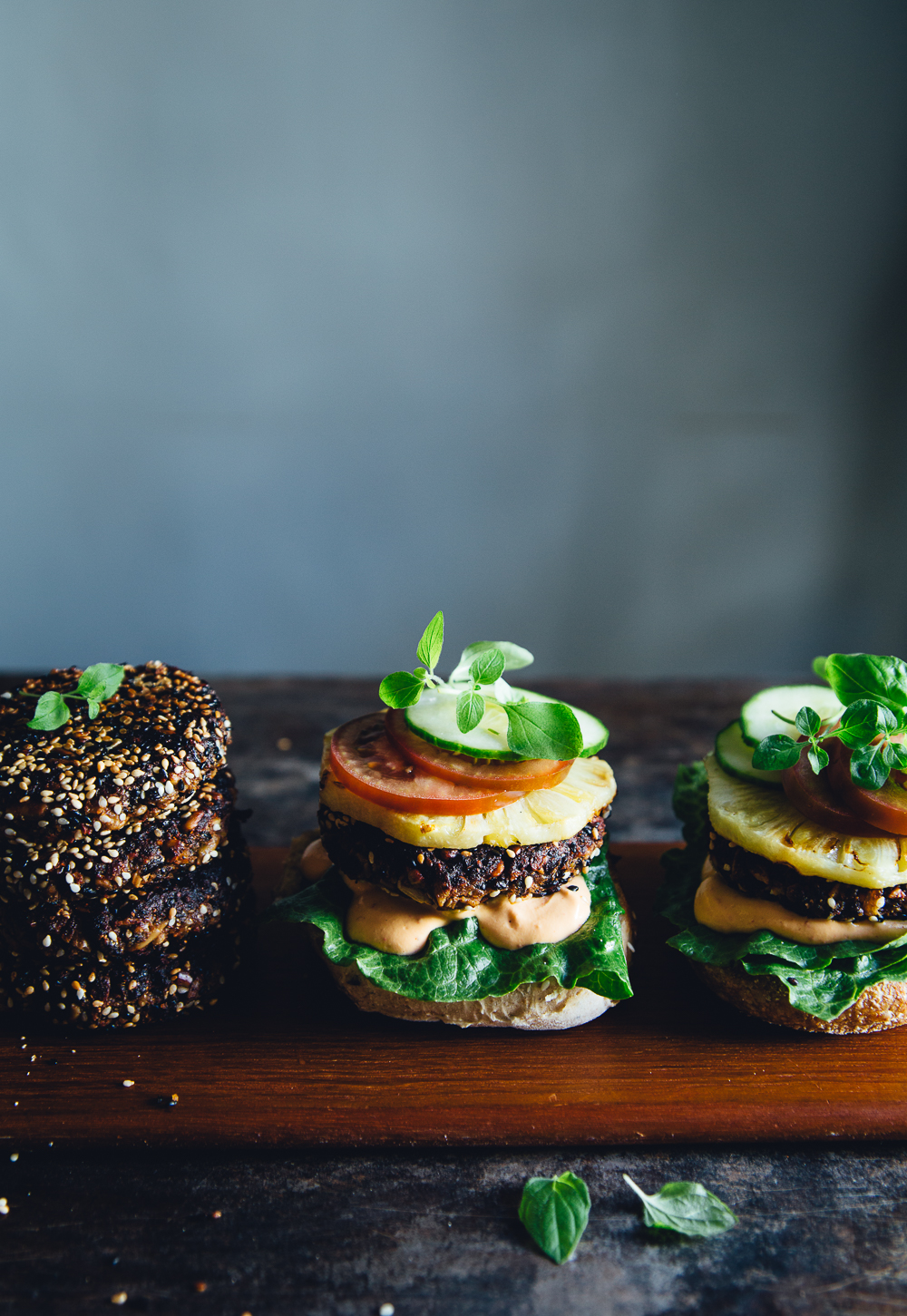 Vegan Black Rice Burgers with Grilled Pineapple & Cashew Chili Mayo | Cashew Kitchen