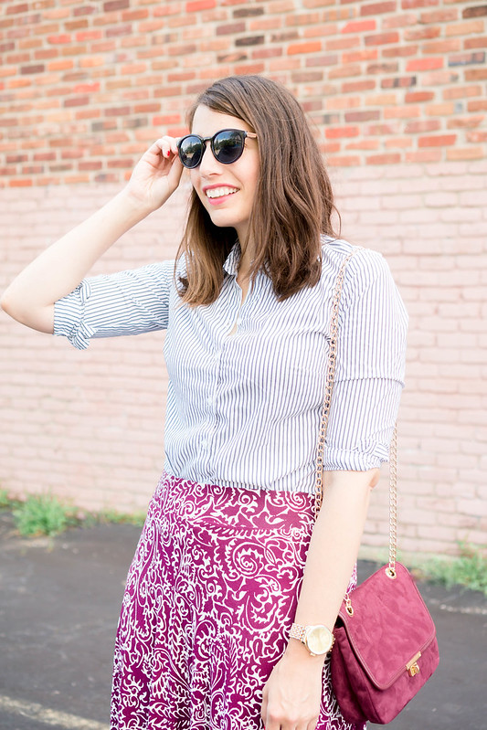 stripe button down shirt + paisley Loft skirt + gold watch + maroon crossbody purse + nude Target wedges | Style On Target blog