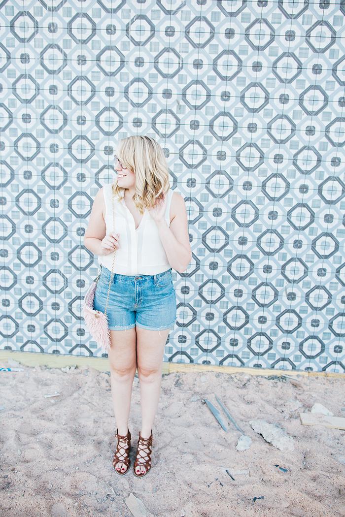 theory blouse denim shorts2