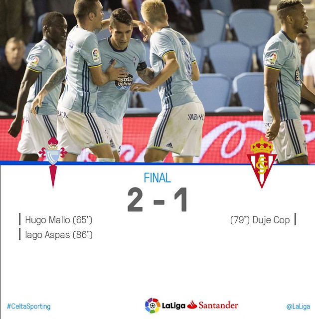La Liga (Jornada 5): Celta 2 - Sporting de Gijón 1