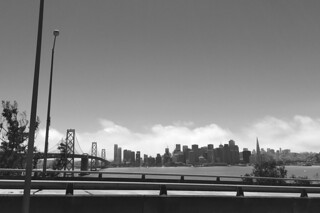 Views from Treasure Island - SF Skyline from road bw