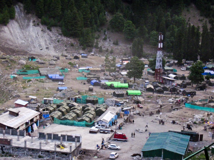 Aerial View of Baltal Base Camp during Amarnath Yatra 2016, Jammu and Kashmir, India