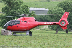 G-SWNG - 2008 build Eurocopter EC120B Colibri, departing from Buxton after visiting for Hillhead 2016