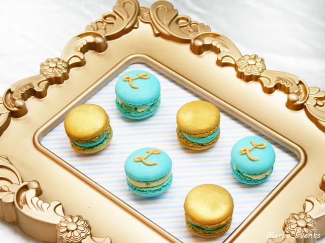 Bautizo vintage celeste y oro Merboevents.com