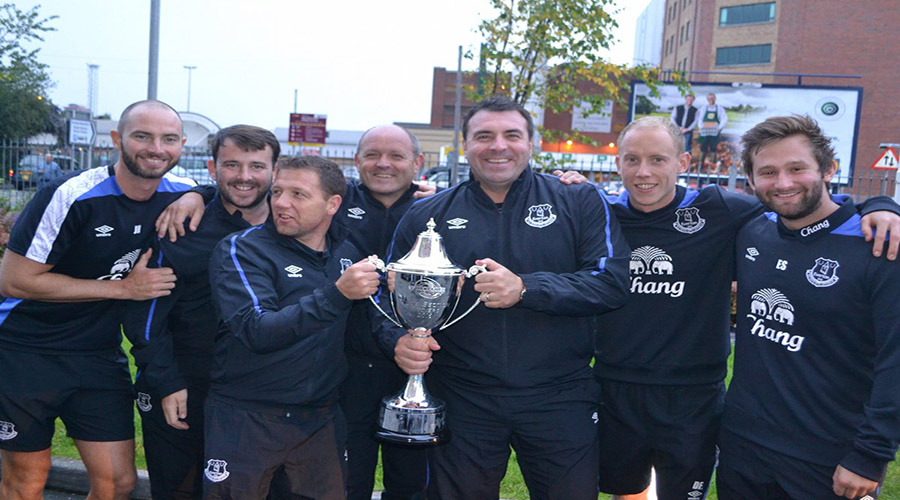 Picture of Everton u23 staff with SuperCupNI