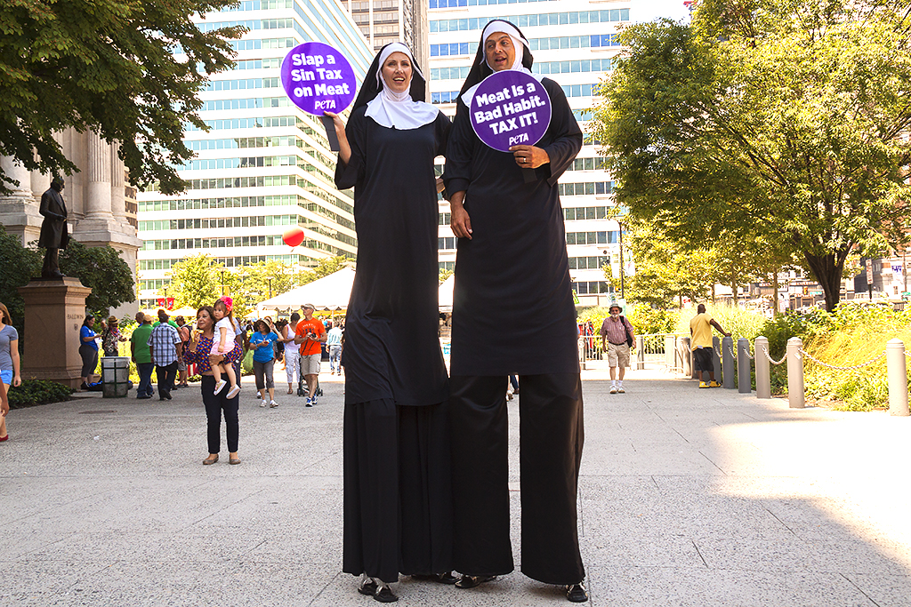 Anti-meat eating Peta protesters dressed as nuns--Center City