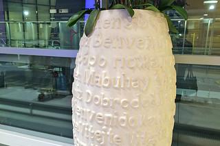SFO Terminal 2 - Vase greetings mabuhay